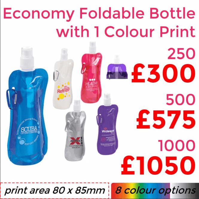 Economy Foldable Sports Bottle With Single Colour Print