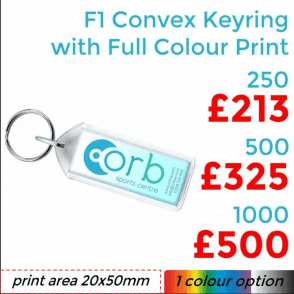 F1 Convex Keyring With Full Colour Print