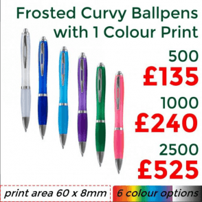 Frosted Curvy Ballpen With Single Colour Print