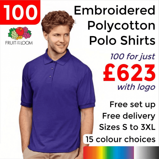 Fruit of the Loom 100 x Embroidered 65/35 Polo £623