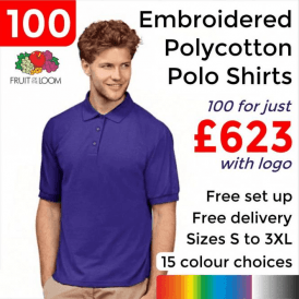 100 x Embroidered 65/35 Polo £623