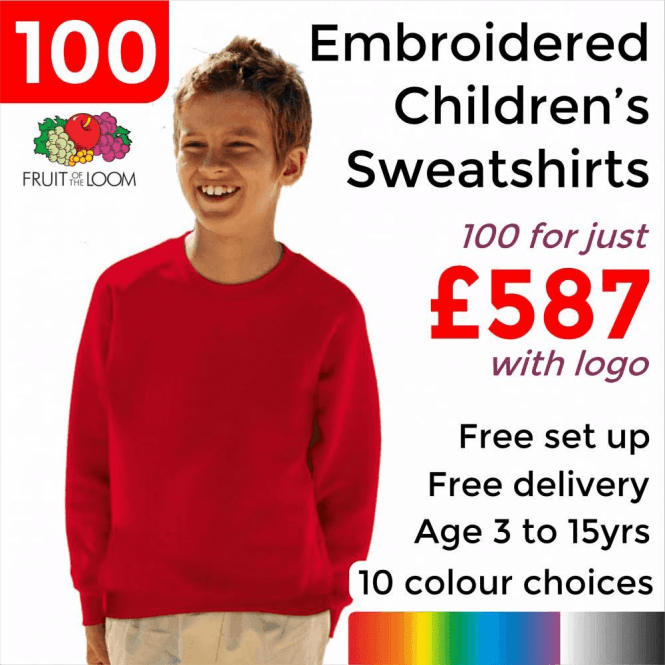 Fruit of the Loom 100 x Embroidered Classic 80/20 kids raglan sweat £587