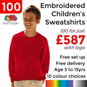 100 x Embroidered Classic 80/20 kids raglan sweat £587