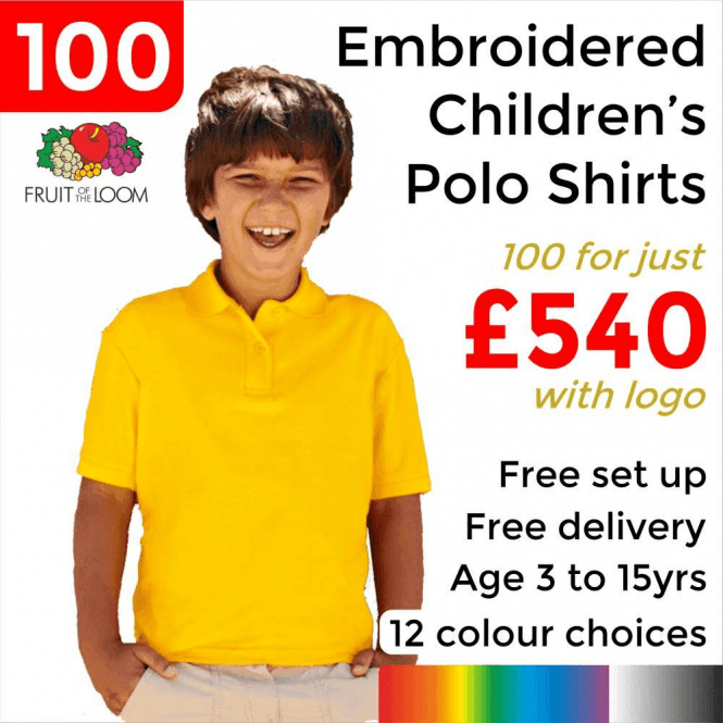 Fruit of the Loom 100 x Embroidered Kids 65/35 pique polo £540