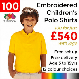 100 x Embroidered Kids 65/35 pique polo £540
