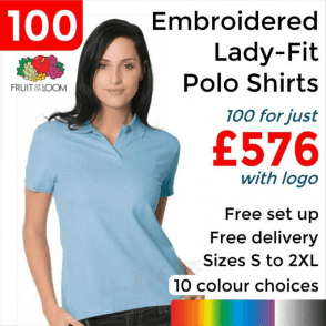 100 x Embroidered Lady-fit 65/35 polo £576