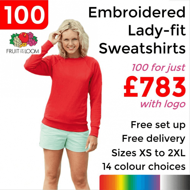 Fruit of the Loom 100 x Embroidered Lady-fit raglan sweatshirt £783