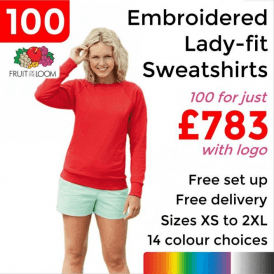 100 x Embroidered Lady-fit raglan sweatshirt £783