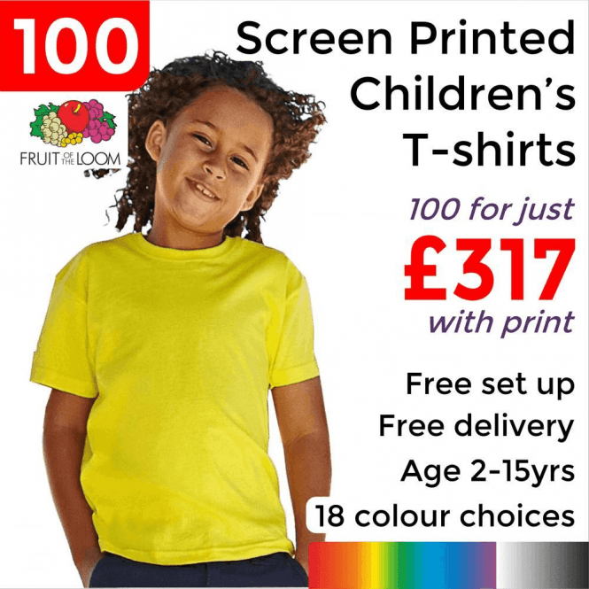 Fruit of the Loom 100 x Screen Printed Kids valueweight tee £317