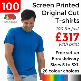 100 x Screen Printed Screen stars original full cut tee £317