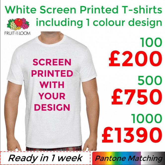 Fruit of the Loom 100 x White Screen Printed Original Cut T-shirts (Children's & Adult Sizes)