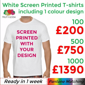100 x White Screen Printed Original Cut T-shirts (Children's & Adult Sizes)