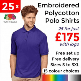 25 x Embroidered 65/35 Polo £175