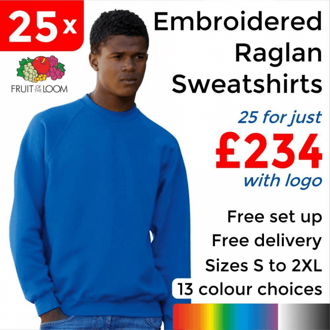 Fruit of the Loom 25 x Embroidered Classic 80/20 raglan sweat £234