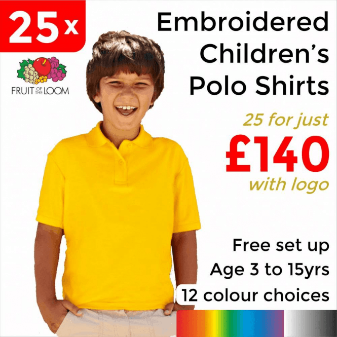 Fruit of the Loom 25 x Embroidered Kids 65/35 pique polo £140