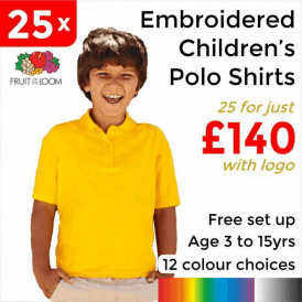 25 x Embroidered Kids 65/35 pique polo £140