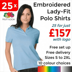 25 x Embroidered Lady-fit 65/35 polo £157