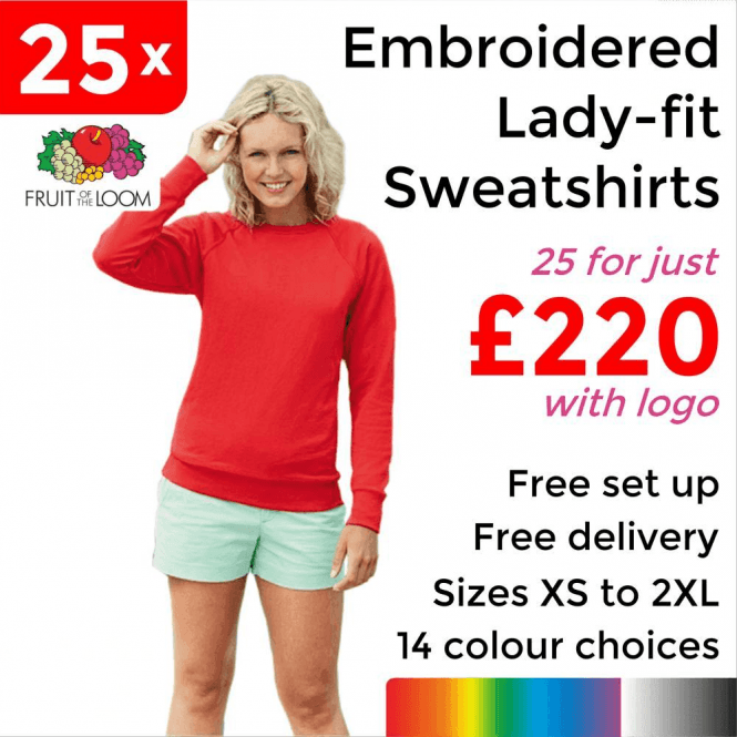 Fruit of the Loom 25 x Embroidered Lady-fit raglan sweatshirt £220