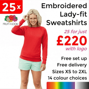 25 x Embroidered Lady-fit raglan sweatshirt £220