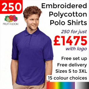 250 x Embroidered 65/35 Polo £1475