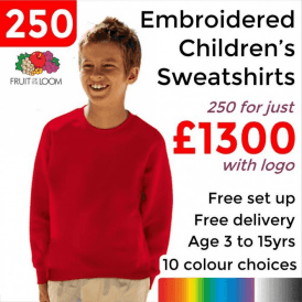 250 x Embroidered Classic 80/20 kids raglan sweat £1300