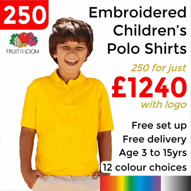 Fruit of the Loom 250 x Embroidered Kids 65/35 pique polo £1240