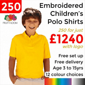 250 x Embroidered Kids 65/35 pique polo £1240