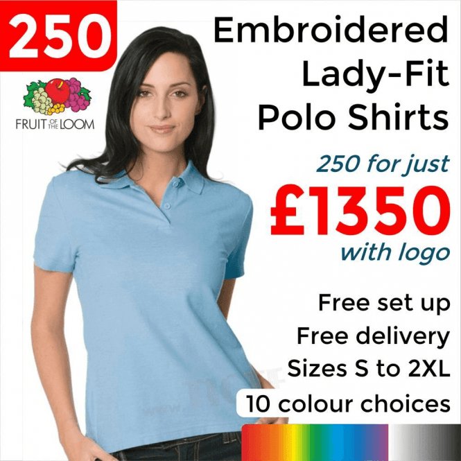 Fruit of the Loom 250 x Embroidered Lady-fit 65/35 polo £1350