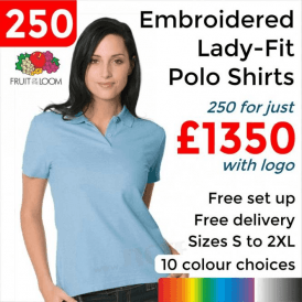 250 x Embroidered Lady-fit 65/35 polo £1350