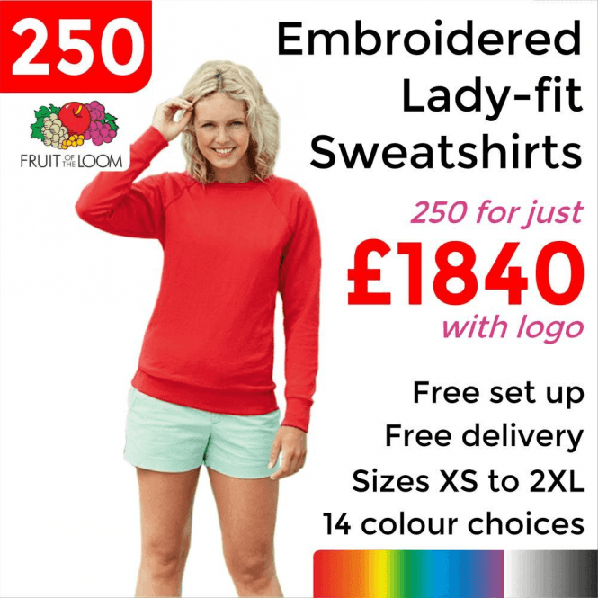 Fruit of the Loom 250 x Embroidered Lady-fit raglan sweatshirt £1840