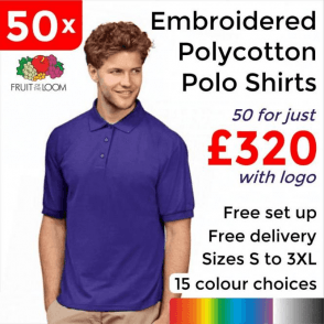 50 x Embroidered 65/35 Polo £320