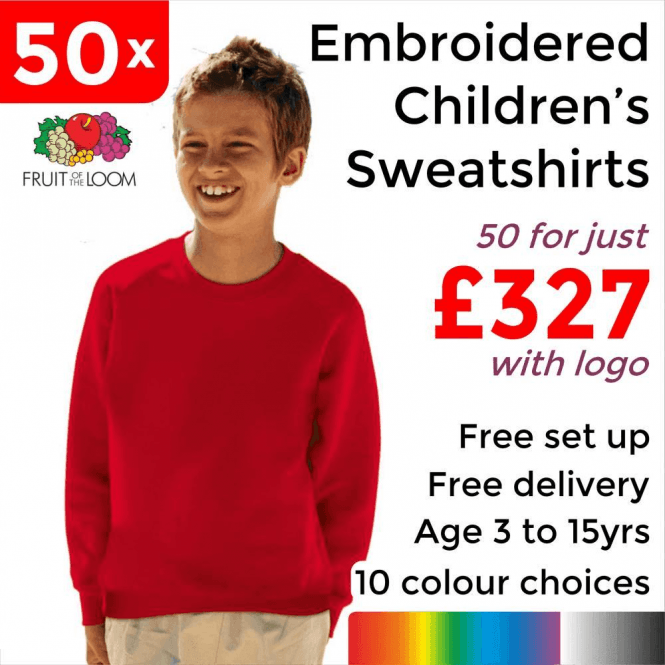 Fruit of the Loom 50 x Embroidered Classic 80/20 kids raglan sweat £327