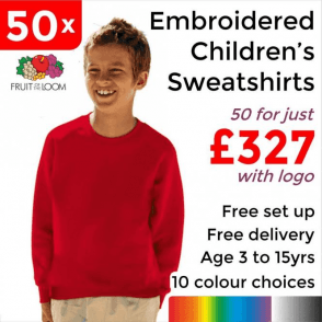 50 x Embroidered Classic 80/20 kids raglan sweat £327