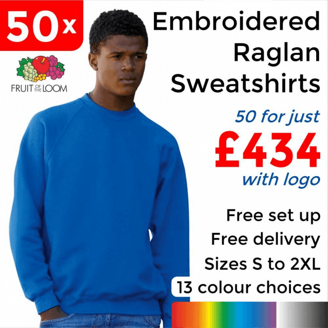 Fruit of the Loom 50 x Embroidered Classic 80/20 raglan sweat £434