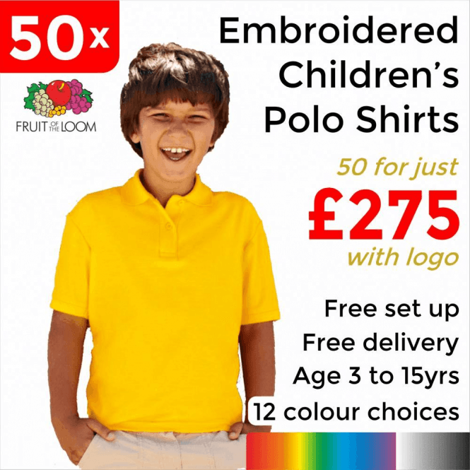 Fruit of the Loom 50 x Embroidered Kids 65/35 pique polo £275