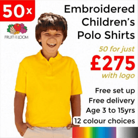 50 x Embroidered Kids 65/35 pique polo £275