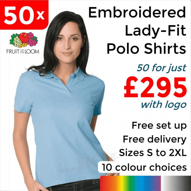 Fruit of the Loom 50 x Embroidered Lady-fit 65/35 polo £295