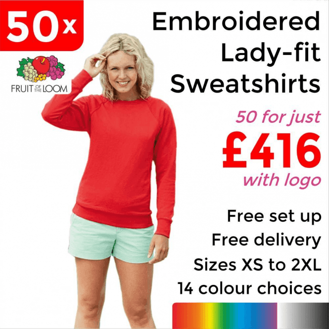 Fruit of the Loom 50 x Embroidered Lady-fit raglan sweatshirt £416