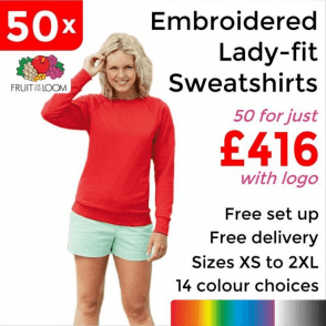50 x Embroidered Lady-fit raglan sweatshirt £416