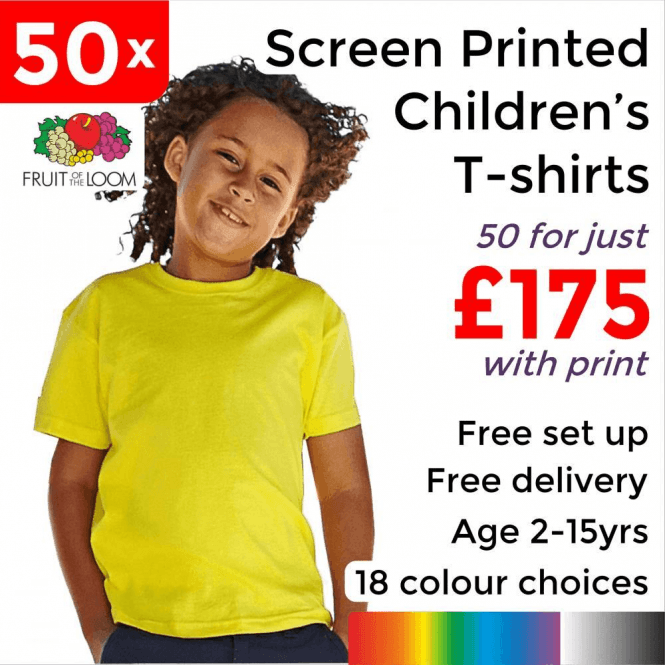 Fruit of the Loom 50 x Screen Printed Kids valueweight tee £175