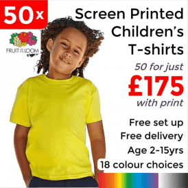 50 x Screen Printed Kids valueweight tee £175