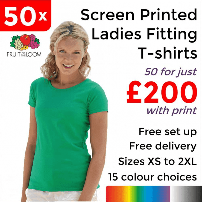 Fruit of the Loom 50 x Screen Printed Lady-fit valueweight tee £200