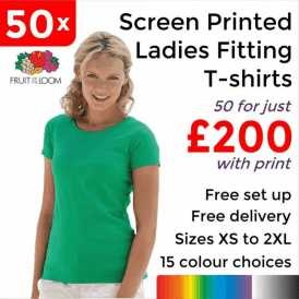 50 x Screen Printed Lady-fit valueweight tee £200
