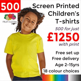 500 x Screen Printed Kids valueweight tee £1250