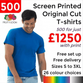 500 x Screen Printed Screen stars original full cut tee £1250