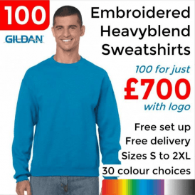100 x Embroidered Heavy blend adult crew neck sweatshirt £700