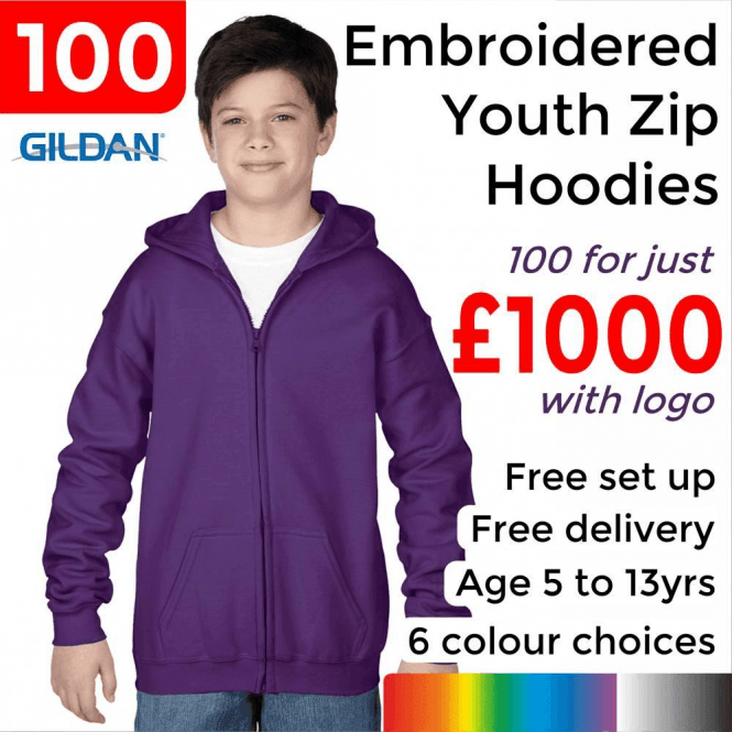 Gildan 100 x Embroidered Heavy Blend youth full zip hooded sweatshirt £1000
