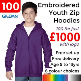 100 x Embroidered Heavy Blend youth full zip hooded sweatshirt £1000