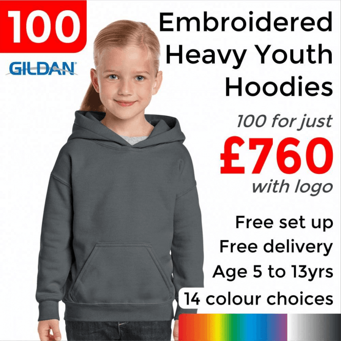 Gildan 100 x Embroidered Heavy Blend youth hooded sweatshirt £760
