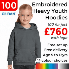 100 x Embroidered Heavy Blend youth hooded sweatshirt £760